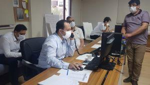 Sağlık Müdürü ERKUŞ Kovit-19 çağrı merkezinde incelemelerde bulundu.