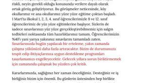 Milli Eğitim Bakanı Ziya Selçuk'tan son dakika yüz yüze eğitim ve sınav açıklaması!